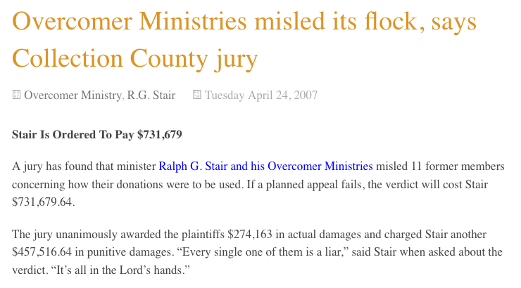 Brother Stair's misled flock awarded $731,679 in 2007