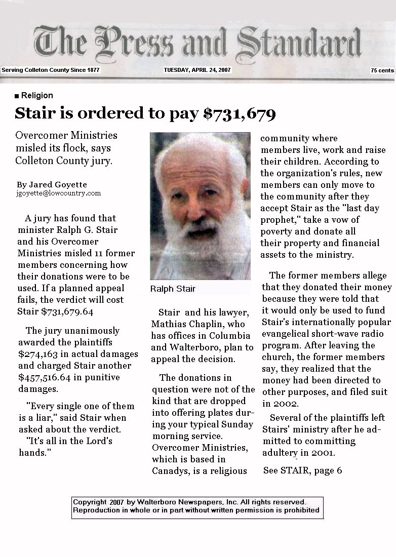 Press & Standard article on Bro Stair