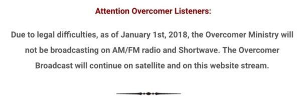Overcomer Ceasing Radio Broadcasting