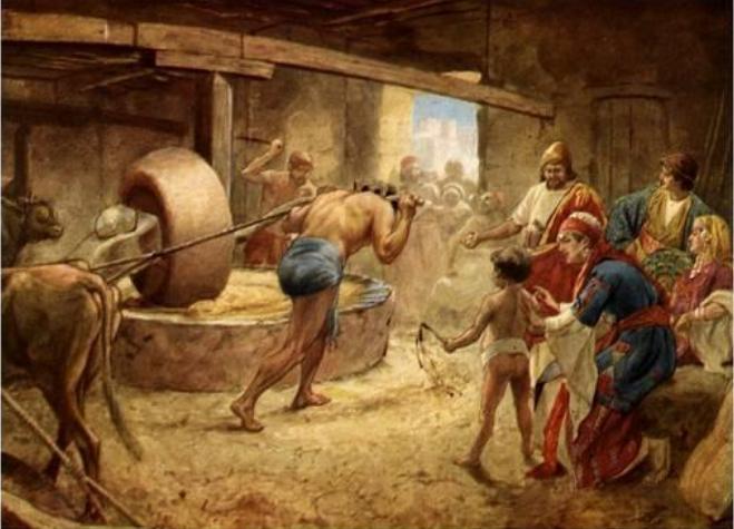 Blind Sampson grinding grain